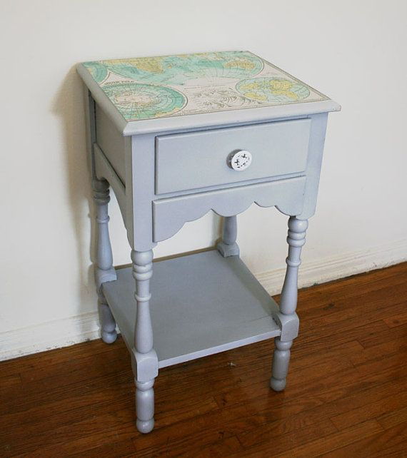 Map Furniture. The Cartographer's Tall Nightstand. Vintage Side Table. Wood. Gray Paint.