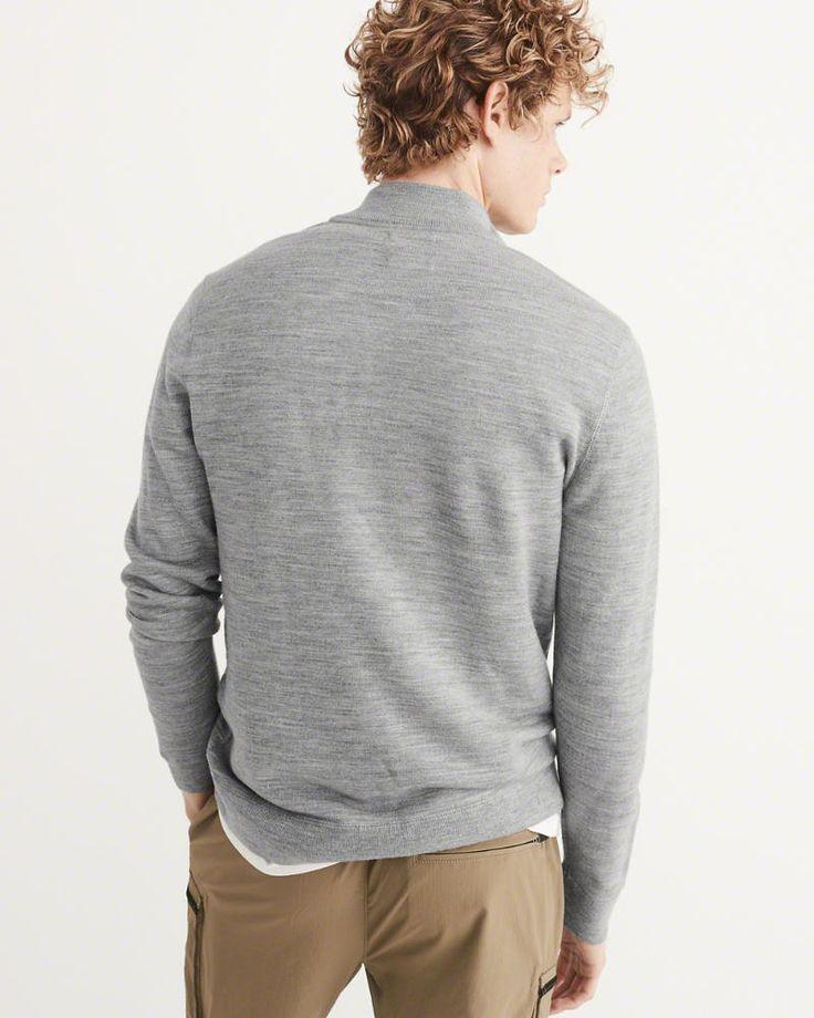 A&F Men's Merino-Blend Half-Zip Sweater in Grey - Size S