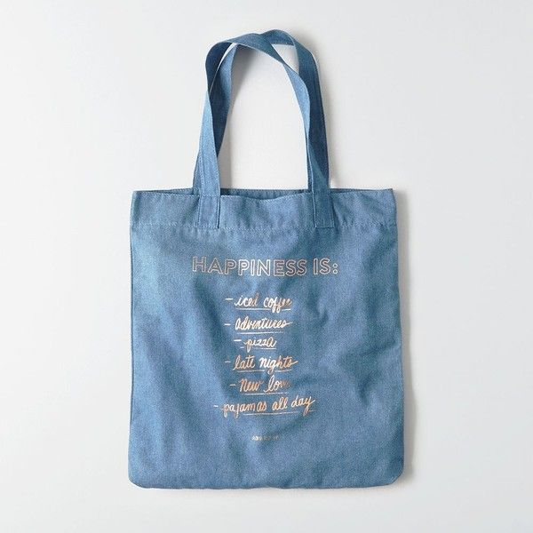 AE Graphic Tote ($20) ❤ liked on Polyvore featuring bags, handbags, tote bags, blue, handbags totes, blue tote bag, tote bag purse, american eagle outfitters and handbags tote bags