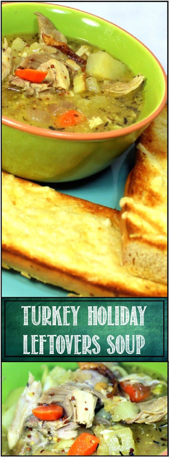 """Turkey """"Holiday Leftovers"""" Soup - 52 Soup Recipes... Works with Chicken as well. A pretty basic way to turn leftovers into something special. Roasted potatoes and vegetables combine with a flavorful (REALLY FLAVORFUL if you have any Turkey Gravy left) Liquid to make a heart warming, Soul warming and just plain WARMING Soup!"""