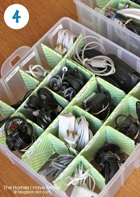 Organize Your Cords (using an ornament box!)