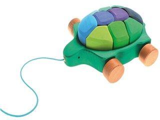 Nachziehtier Wasserschildkröte von Grimms Spiel und Holzdesign, Maße: Länge 24 cm, Breite 20,5 cm - Maßivholz-Spielzeug zum Hinterherziehen