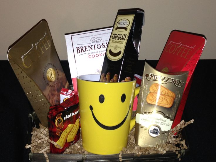 Items that will be included in basket with mug:  Brent & Sam Choc Chip Pecan Dolcetto Chocolate Wafer Rolls Piroucrisp Cookies Walkers Shortbread Cookies Jelly Belly Assorted Candies Mug is Dishwasher safe/FDA approved/Microwave safe Choice of Tea, Cocoa or Coffee