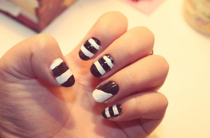 tendencia nail art! blanco y negro