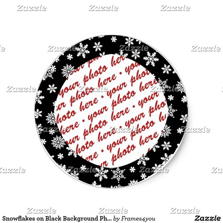 Snowflakes on Black Background Photo Frame Classic Round Sticker by #Frames4you #Addaphoto #zazzle #Gravityx9  #christmassticker