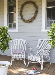 What our front porch could look like with a soft grey on the weatherboard.