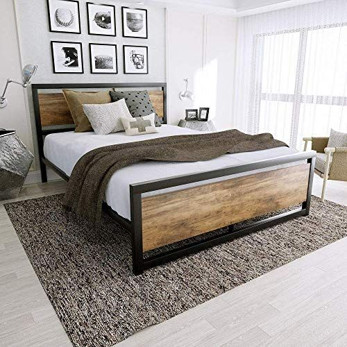 New Amooly Queen Metal Bed Frame Wood Headboard Platform Bed Frame Strong Slat Support Easy Assembly Box Spring Optional Online Shopping In 2020 Bed Frame