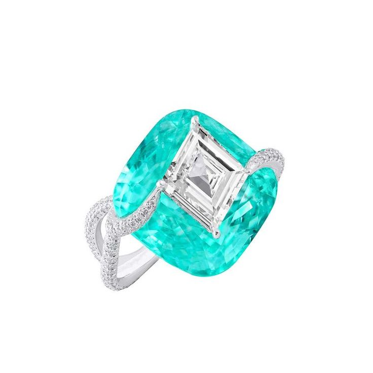 "GABRIELLE'S AMAZING FANTASY CLOSET | Boghossian lozenge-shaped diamond and Paraiba tourmaline ""Kissing"" ring"
