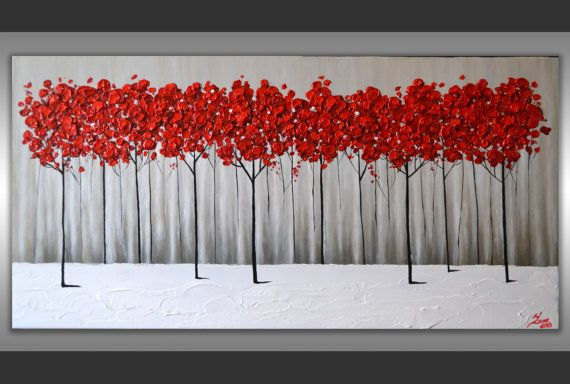 Red Black And Gray Wall Decor : Round canvas art impasto painting red poppies green