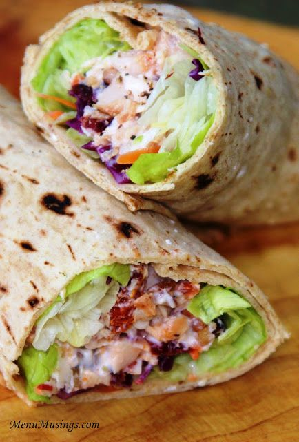 Cranberry Chicken Wraps   •multigrain flat bread (2.5f, 90c, 7p) •3 oz Southwestern seasoned chicken breast strips (2f, 110c, 23p) •1 Tbsp sundried tomatoes (0f, 35c, 2p) •2 Tbsp cherry cranberry pecan mix (3f, 60c, 0p) •1 Tbsp plain nonfat Greek yogurt (0f, 20c, 3.5p) •lettuce blend (0f, 10c, 0p) •kosher salt and black pepper to taste •tarragon vinegar (0f, 0c, 0p)