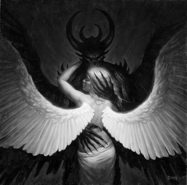 """""""Fallen Angel by Chris Rahn."""" (""""An angel and a daemon fell in love. It did not end well."""" -- """"Daughter of Smoke and Bone"""") It never does end well... :("""