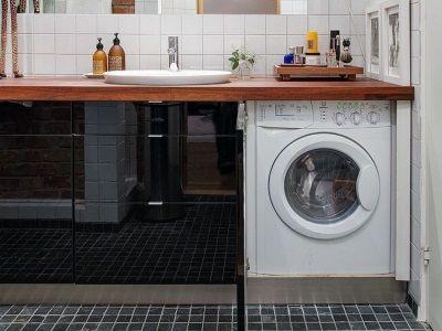 Достоинства столешницы расположенной над стиральной машиной в ванной комнате