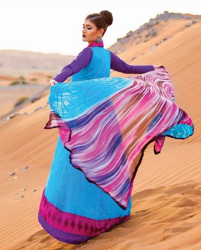 Why #Buy #Cotton #Designer #Salwar #Kameez Through #Online #Shopping? Purple & Sky Blue Cotton Salwar Kameez With Chiffon Dupatta