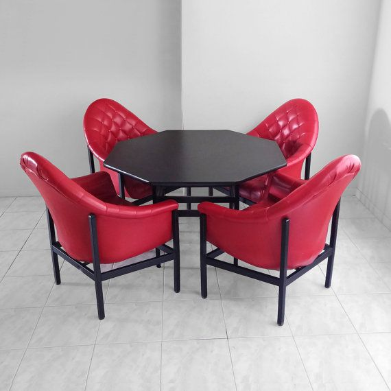 4 Mid Century MODERN Atomic Red Tufted By Midwestvintagesupply
