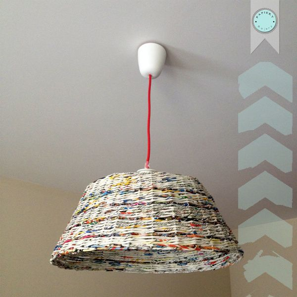 Paper lampshade with red cord - handmade.