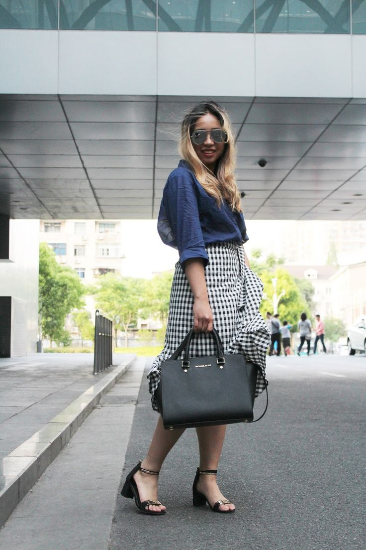 Gingham Ruffled Skirt spring outfit OOTD - Inspired from @WhoWhatWear