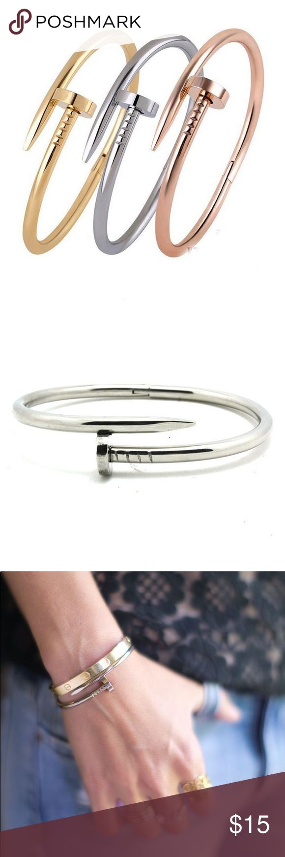 Stainless Nail Head Bracelet Stainless steel nail head bracelet in silver tone; new without tags; never worn. Pop the head open to place on your wrist and squeeze closed. Looks awesome stacked with other jewelry or simple and chic on its own. Jewelry Bracelets