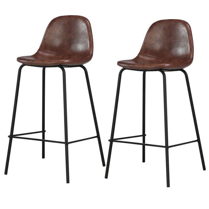 Chaise De Bar Henrik Marron Lot De 2 Chaise Bar Chaise De Bar Design Et Chaise