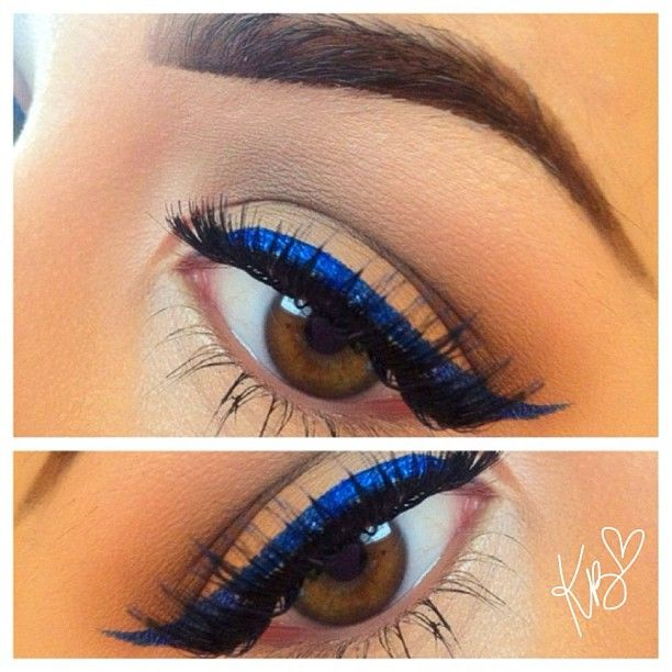 I've been doing cobalt blue eyeliner along with black lately.  Very similar to this.
