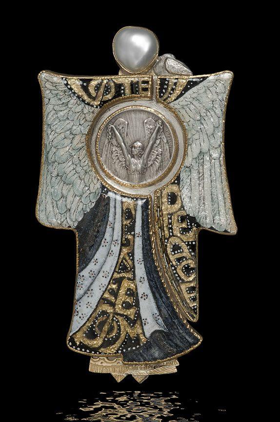 "René Lalique |  ""Prisoners of War"" medal, ca 1915. Enamel, Gold & Silver FoilsPearl."
