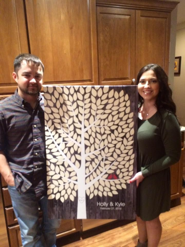 Darkwood Wedding Tree Canvas | Guest Book Alternative | Rustic Wedding | Customer Photo | Wedding Color - Light Yellow & Red | peachwik.com