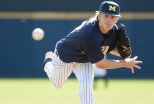 Michigan pitcher comes up strong to win mid week victory over Central Michigan.      This weekend Michigan will face Michigan State on three consecutive days, finishing on Sunday with a 3:00 PM game at Ray Fisher Stadium. The Lamp Post Inn will offer a special overnight rate to any Wolverine or Spartan fan wishing to stay overnight on  Sunday evening, April 8, 2012.  In order to take advantage of the offer you will need to go to the Lamp Post Inn website and use the promo code BASEBALL12.