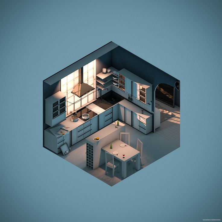 https://www.behance.net/gallery/34808087/Three_Rooms_in_Isometric_Viewc4d