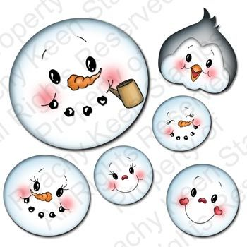 PK-520 Winter Faces Assortment: Peachy Keen Stamps | Home of the original clear, peach-tinted, high-quality whimsical face stamps.