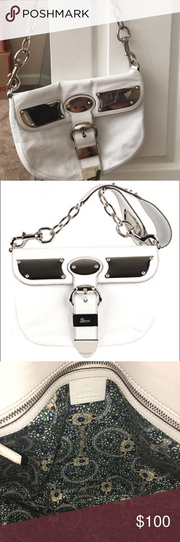 Gucci White Shoulder bag Bought frm another Posher , Authentic White Gucci shoulder bag, a couple marks (as shown in the pictures) but good condition Gucci Bags Shoulder Bags