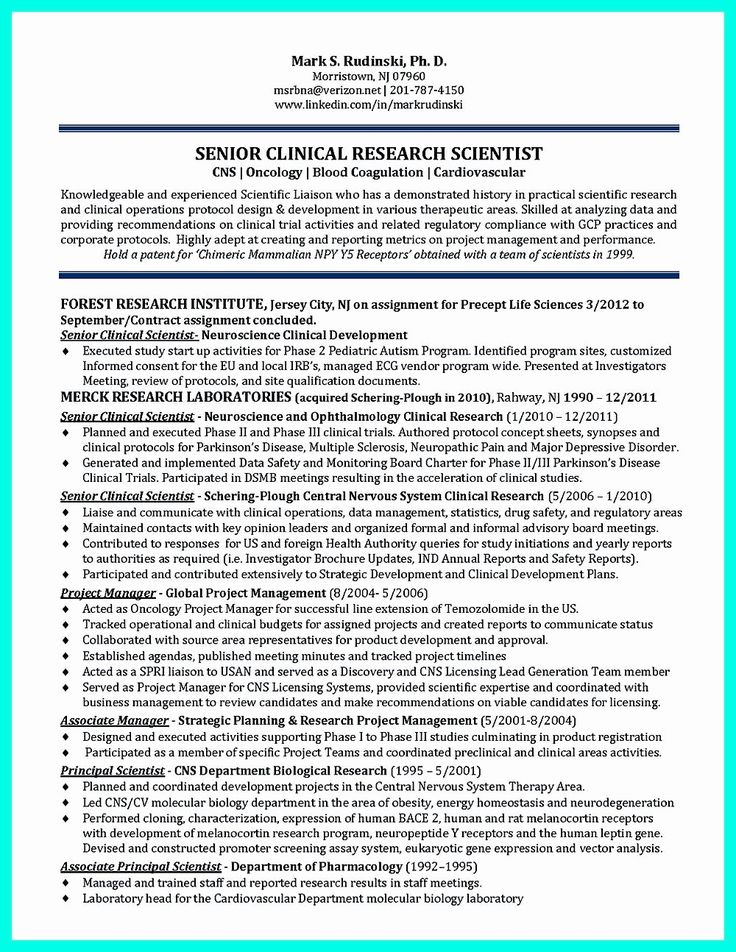 Clinical research associate resume elegant pin on resume