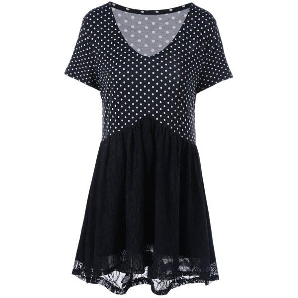 Plus Size Polka Dot Lace Trim T Shirt ($18) ❤ liked on Polyvore featuring tops, t-shirts, plus size t shirts, plus size women's t shirts, women's plus size tops, womens plus tops and plus size womens tees