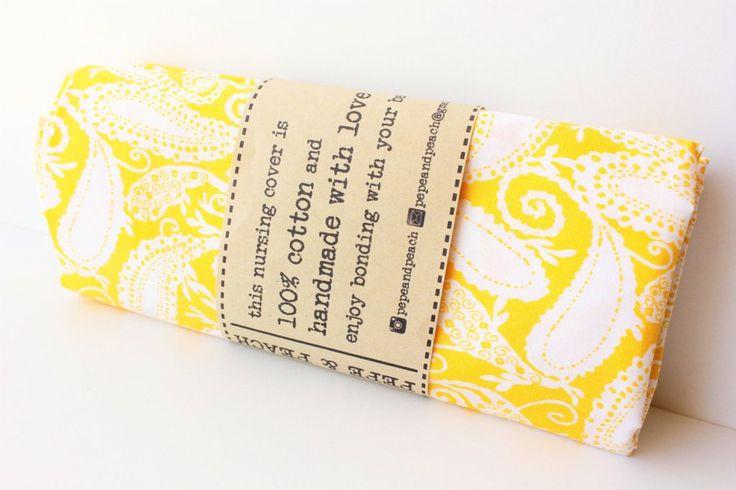 Breastfeeding Cover, Nursing Apron, Maternity, New mum gift, 100% Cotton~Yellow~ Paisley