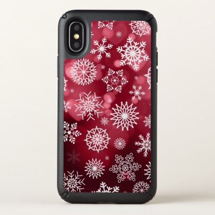 Snowflakes on a Valentine Background iPhone X Case - valentines day gifts love couple diy personalize for her for him girlfriend boyfriend