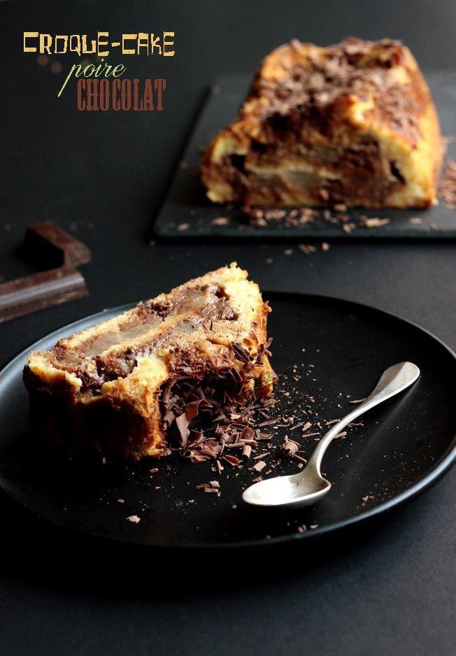 Recette de croque-cake sucré poire chocolat : un croque-monsieur géant cuit au four dans un moule à cake. Croque-cake pear chocolat recipe with brioche and cream.