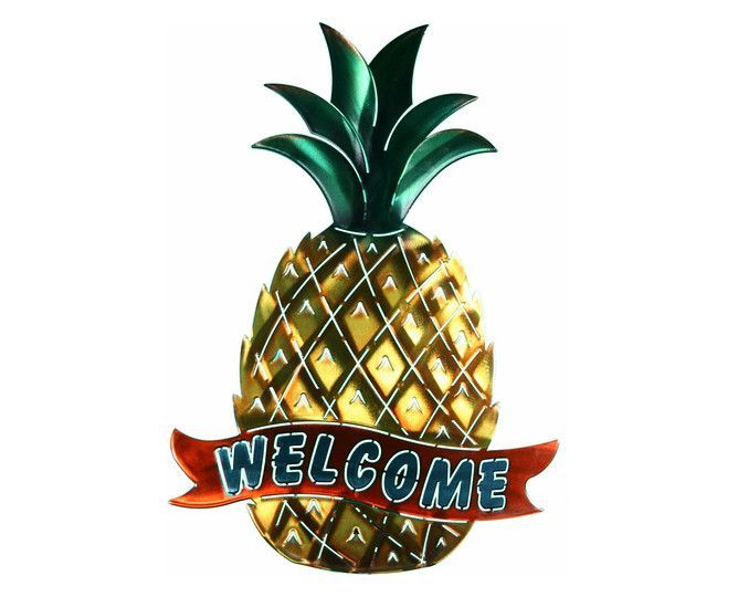 Fruity Pineapple Welcome Sign Metal Wall Art