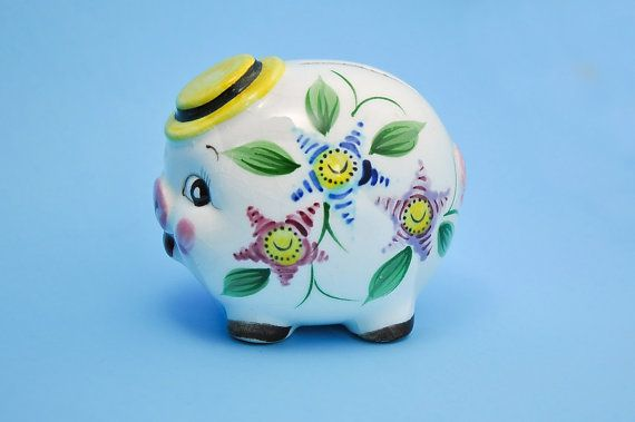Sweet Vintage China Piggy Bank  1950's by StarfishCollectibles, $15.00