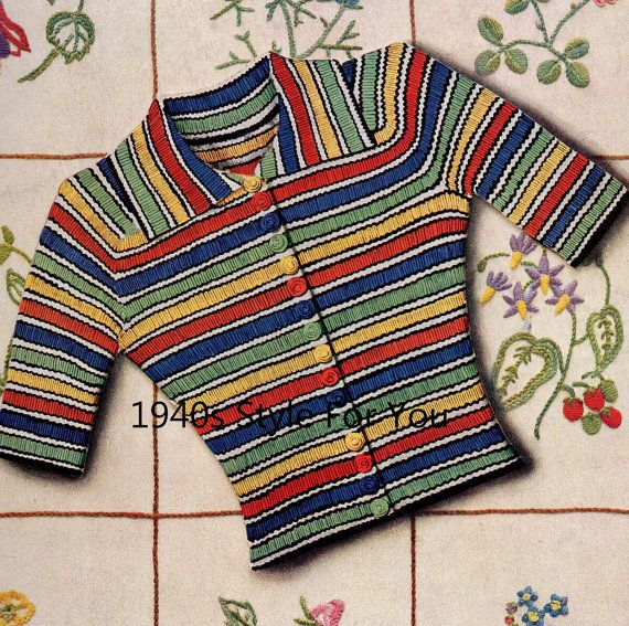 1930's Needlework Illustrated PDF Knitting Pattern - Vintage Knitting Pattern  - 1930's Jumper Cardigan - Easy Stripe Jumper - Ribbed