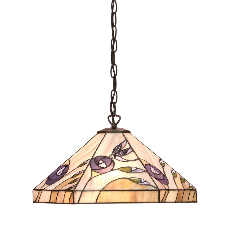 Damselfly 64037 Medium 1 Light Pendant Tiffany Style Glass Bronze Paint Effect This Pretty Collection Depicts A Fluttering Around Mackintosh