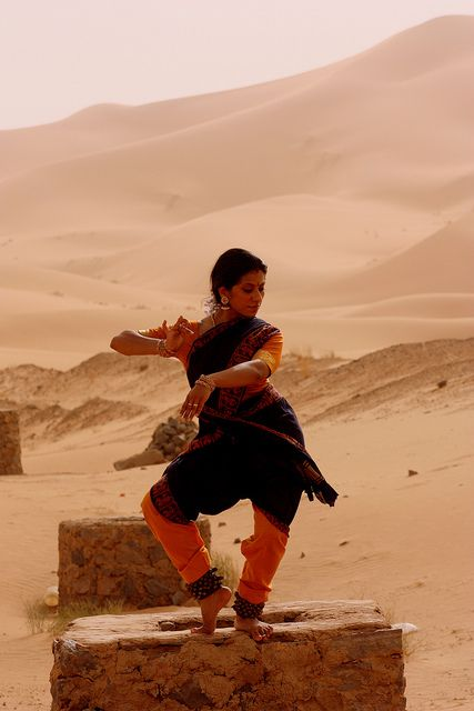 Radhini Sivadharan taking Bharatanatyam Merzouga, Morocco. by kalaimanram1958, via Flickr