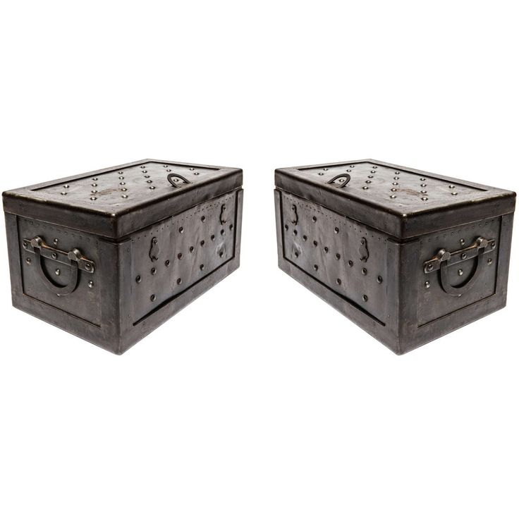Rare Pair Of Italian Iron Strong Boxes.