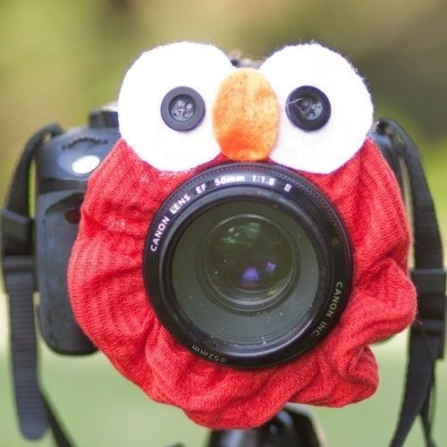 Elmo around camera lens to get baby to look at the camera.