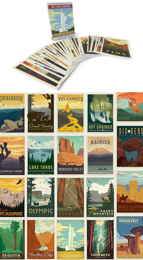Explore America's great national parks with this vintage travel postcard set. Each postcard depicts the natural beauty and unspoiled landscape of its featured park. With the bold illustrations and vintage typefaces, they're a classic way to get in touch. Includes 32 postcards.