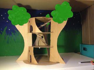 Все дети мечтают о доме на дереве. Сделайте вместе игрушечный вариант из картона. Такое древесное жилище подойдет для игр с куклами-малышками, феями и, конечно, любимое у моих детей – лего человечки! Для большей забавы, ступени между этажами будут заменены на горки.