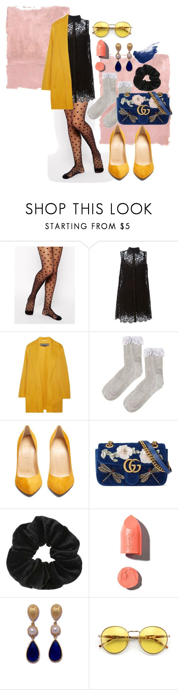 """""""lace it up"""" by nover on Polyvore featuring Gipsy, Rothko, Dolce&Gabbana, Rochas, Topshop, Christian Louboutin, Gucci, Miss Selfridge, PUR and Wildfox"""