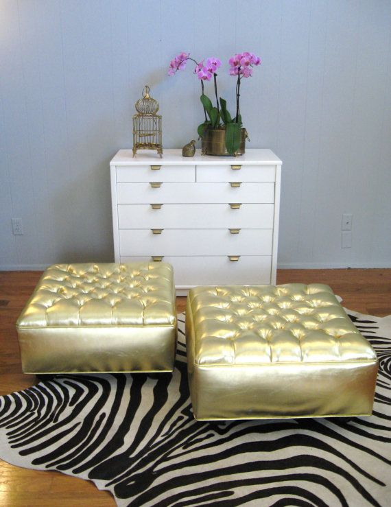 Vintage HOLLYWOOD REGENCY Gold Button TUFTED Ottoman Coffee Table $395.