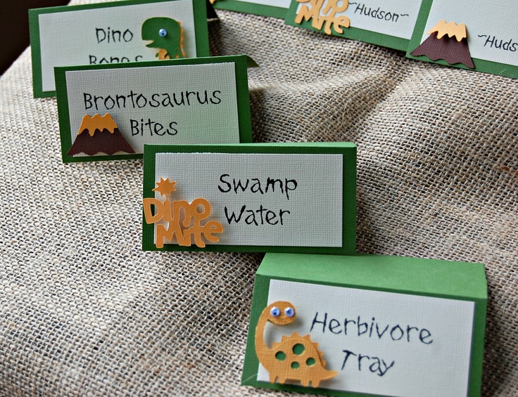 Dinosaur Birthday Party Food Buffet Name Tags--Except there's no such thing as a brontosaurus. ;)
