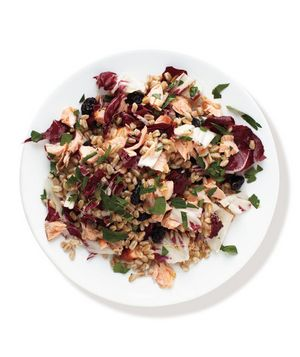 Salmon, Radicchio, and Farro Salad recipe from RealSimple.com #myplate #protein #vegetables