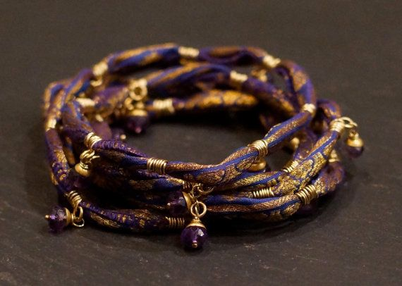 Mystic Dreams Warrior Wraps bracelet and necklace, free trade sari silk, Amethyst, gold, brass. #ALCCREATIONS, #givingthroughjewelry, #peacewarriorwrap, #amethyst, #freetradesarisilk,