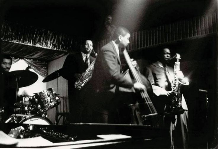 "The Miles Davis Sextet at Birdland, NYC, January 1958 - pictured, Jimmy Cobb, Julian ""Cannonball"" Adderley, Paul Chambers and John Coltrane"