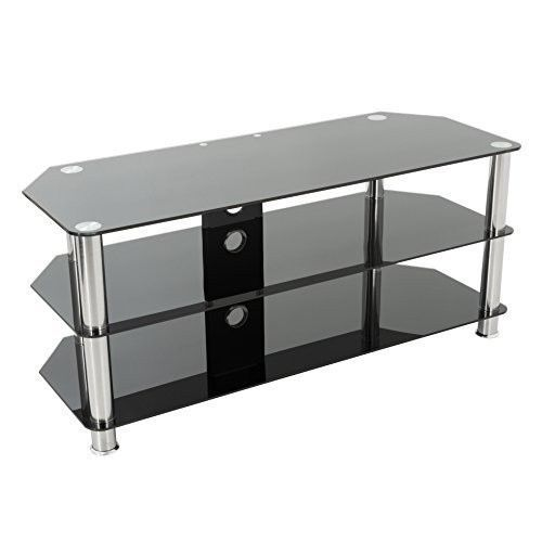 """Large Black Glass Television Stand 32""""- 60"""" 125cm Wide With Cable Management #LargeBlackGlassTelevisionStand #Modern"""